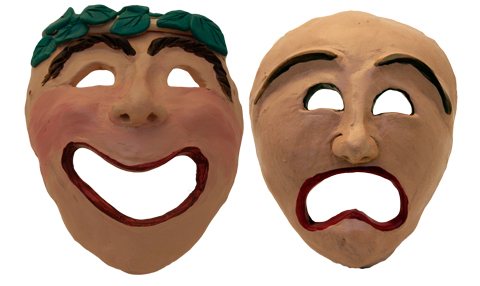 Greek theatre masks edy and tragedy masks for acne for Ancient greek mask template